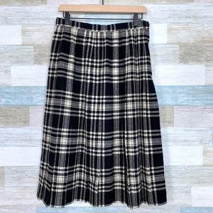 Vintage Wool Plaid Pleated Midi Skirt Tally-Ho